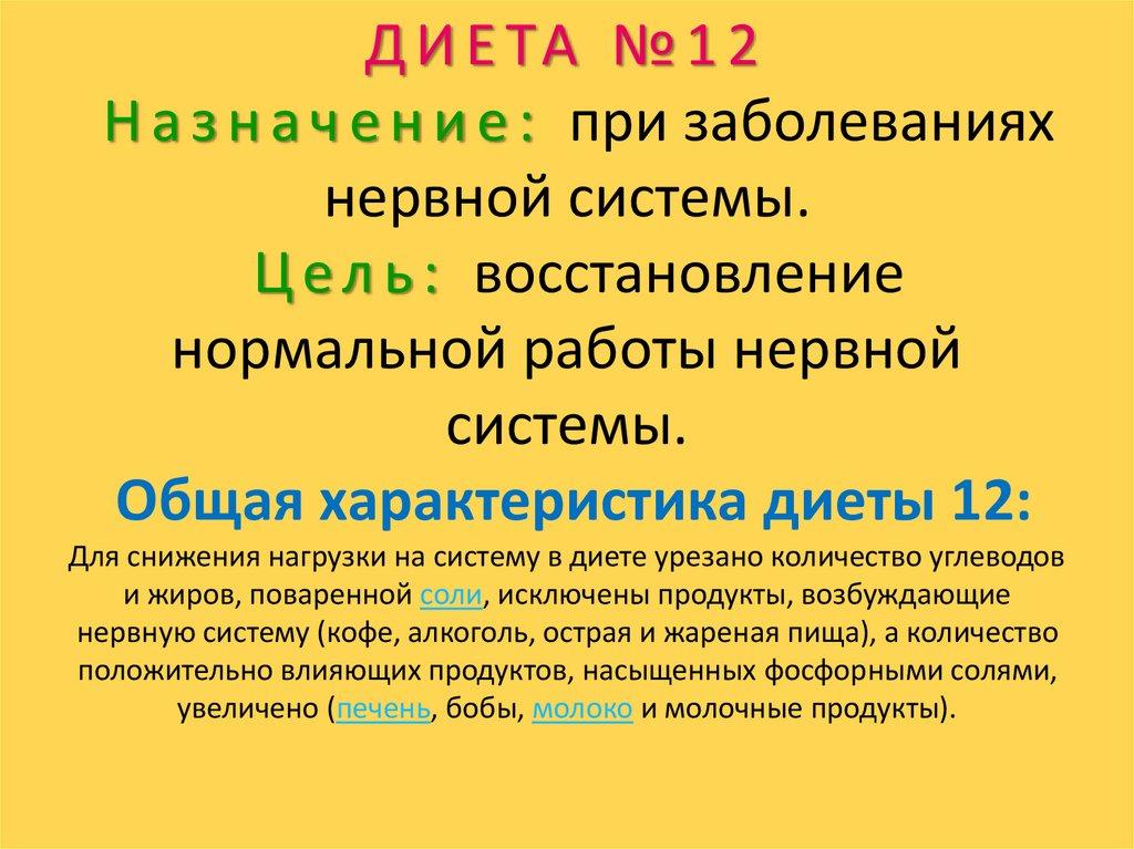 Диета Лечебная 12.