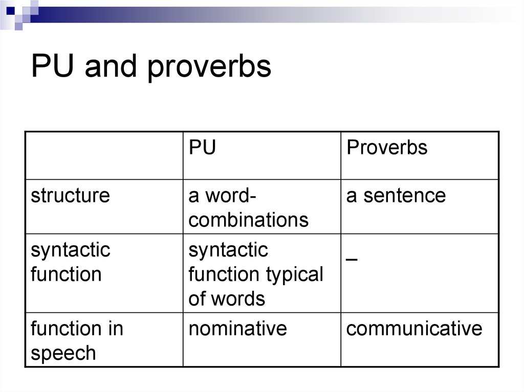 PU and proverbs