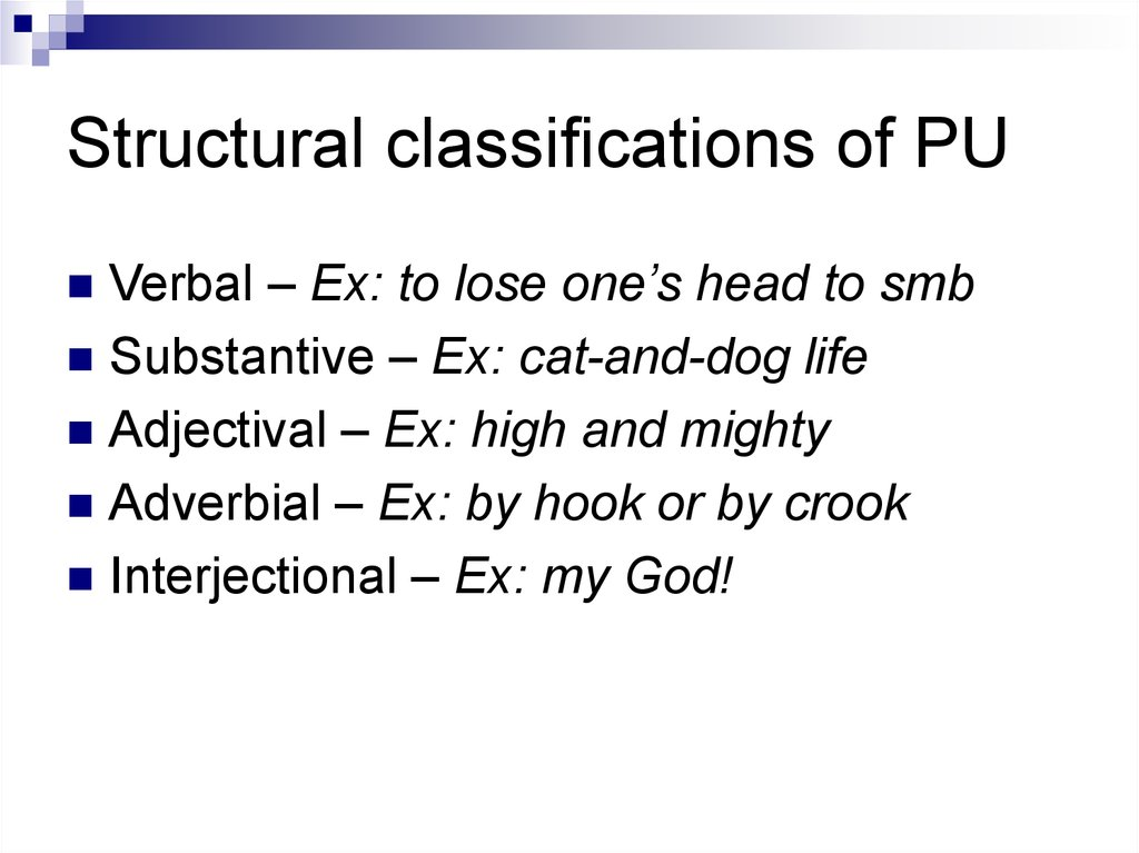 Structural classifications of PU