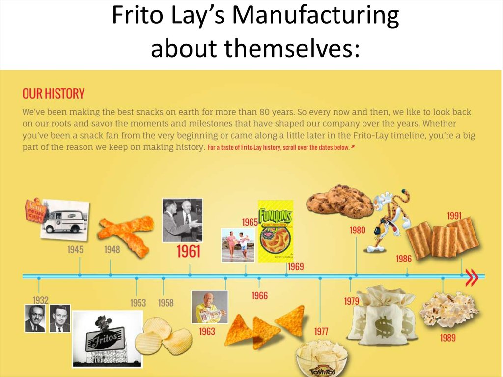 Frito Lay's Manufacturing about themselves:
