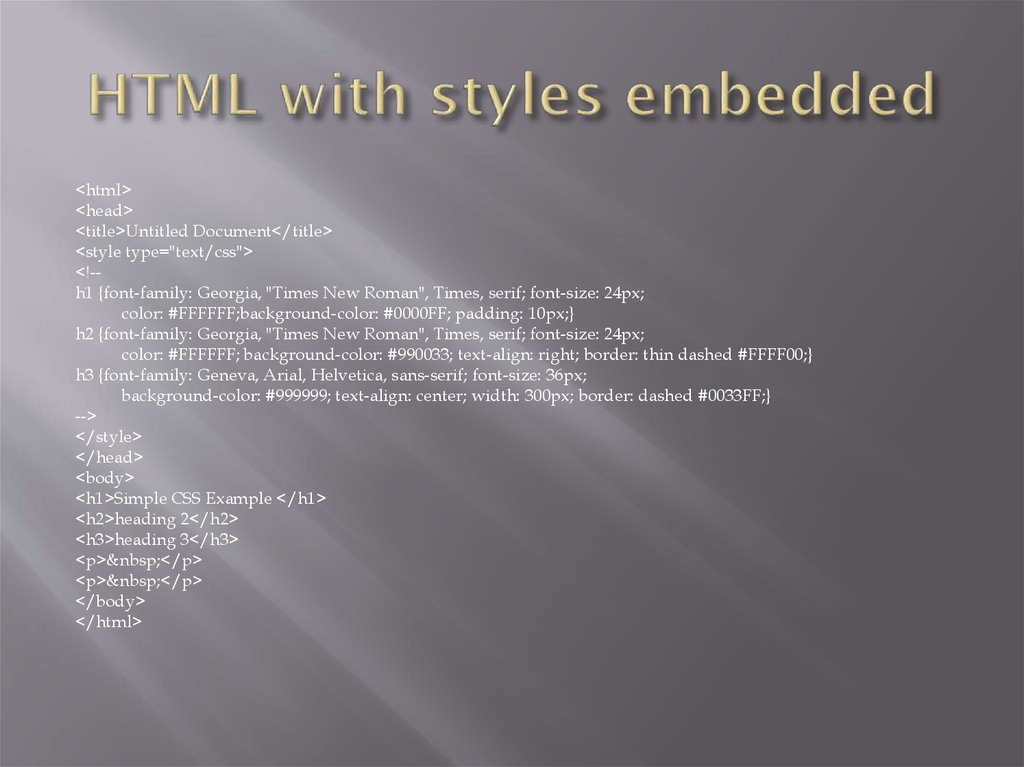 HTML with styles embedded