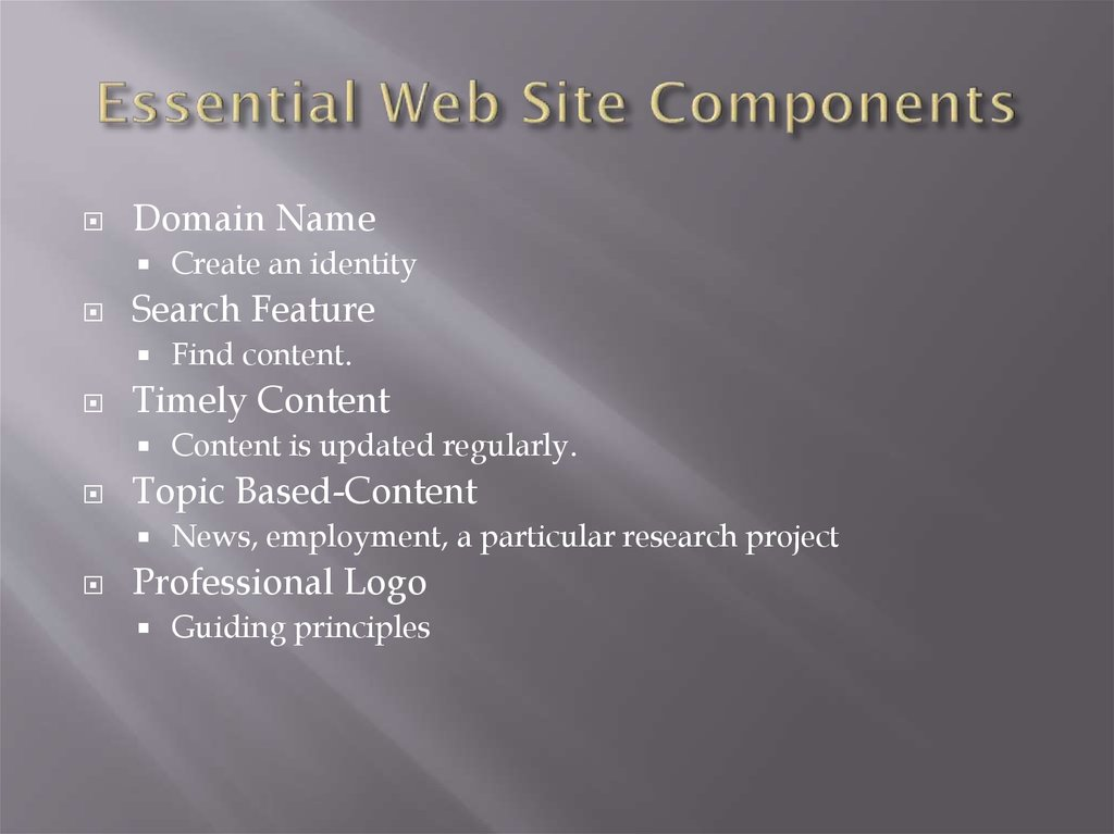 Essential Web Site Components