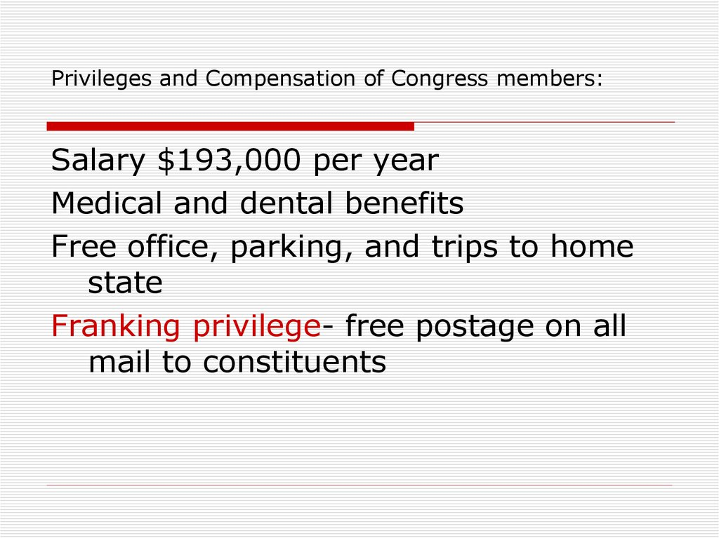Privileges and Compensation of Congress members: