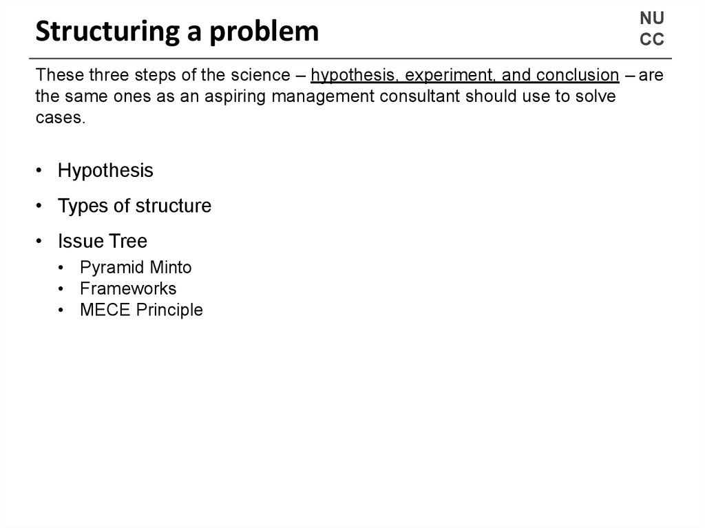 Structuring a problem