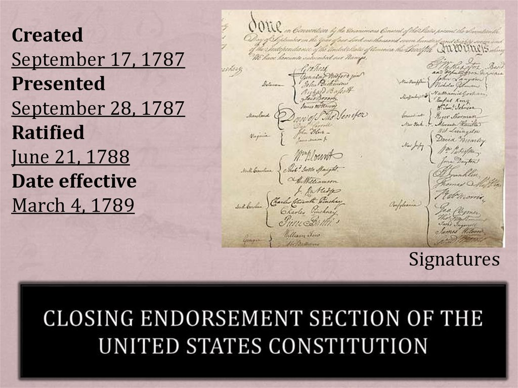 Closing endorsement section of the United States Constitution