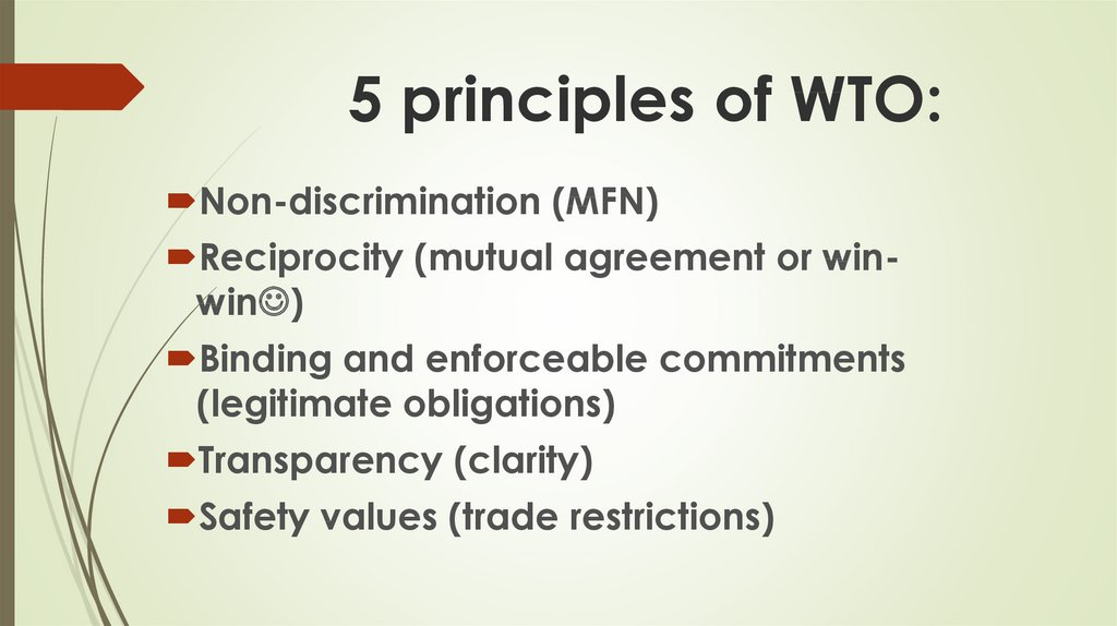 5 principles of WTO: