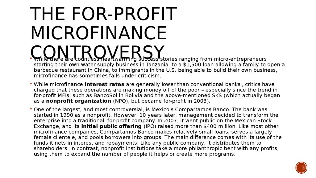 The For-Profit Microfinance Controversy