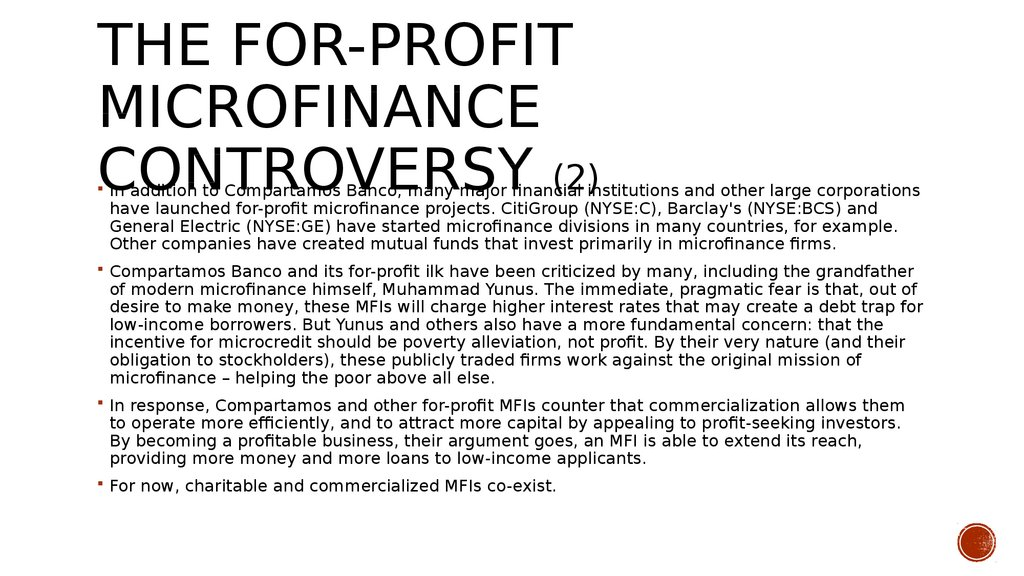 The For-Profit Microfinance Controversy (2)