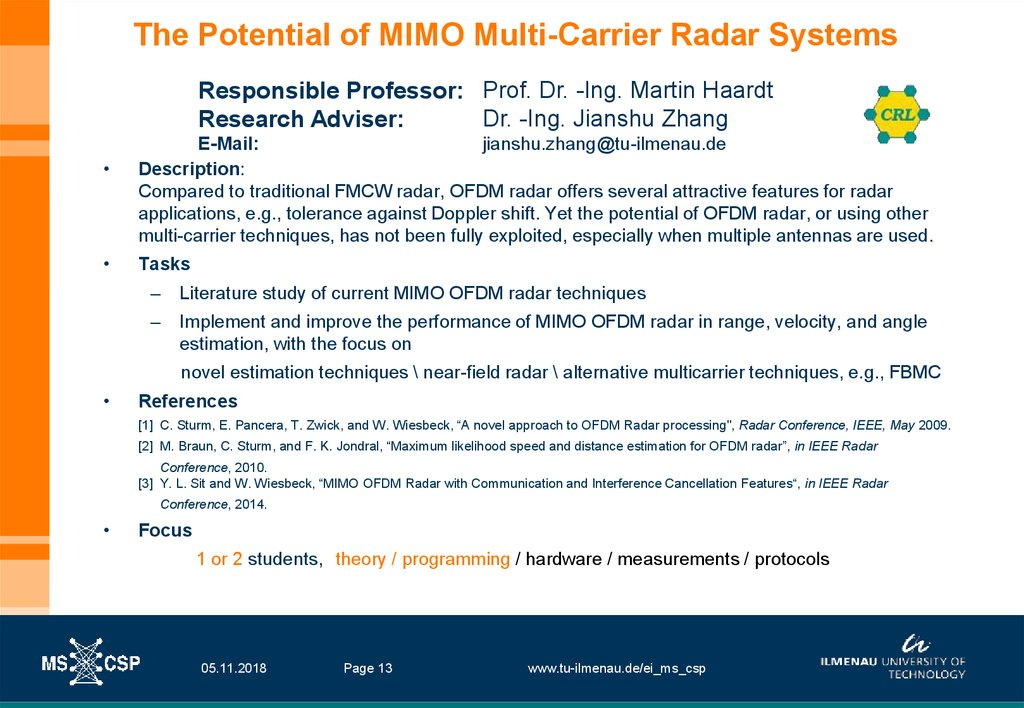 The Potential of MIMO Multi-Carrier Radar Systems