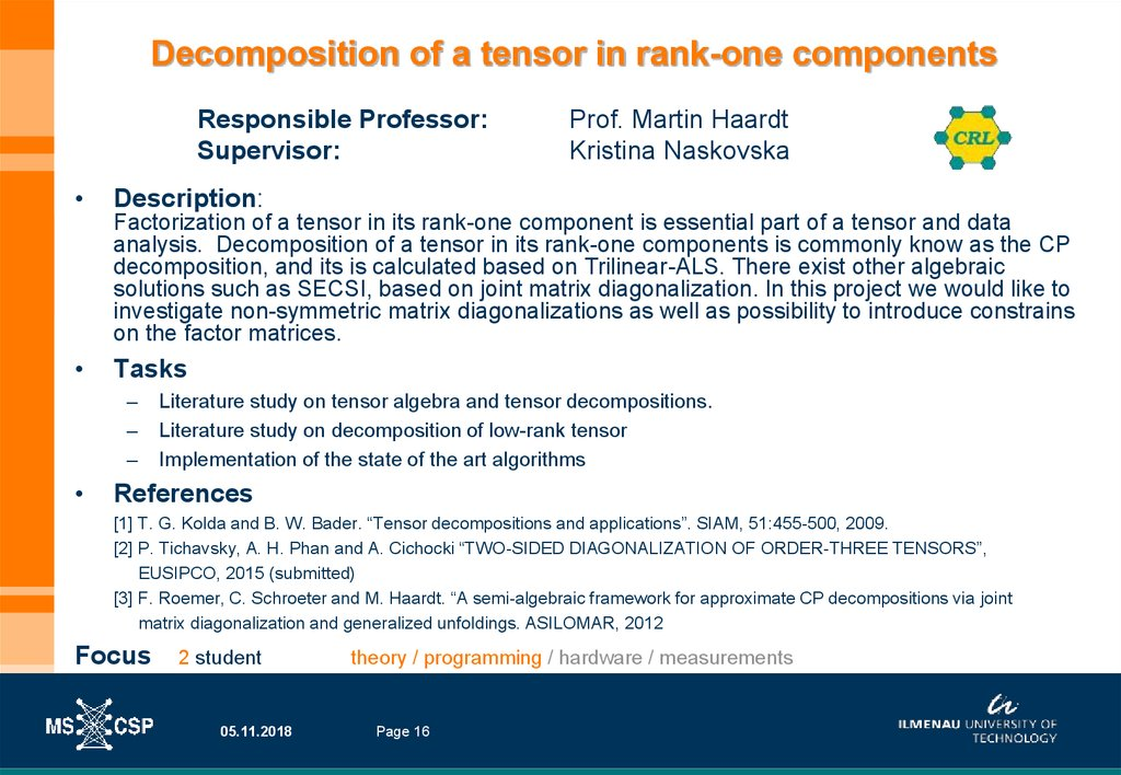Decomposition of a tensor in rank-one components