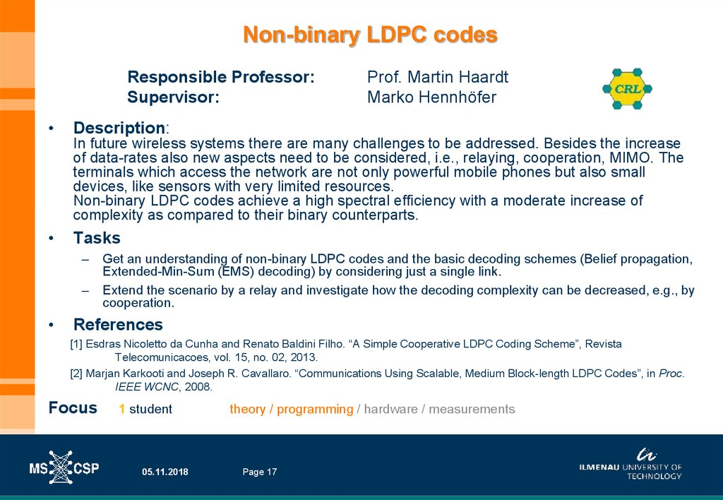 Non-binary LDPC codes