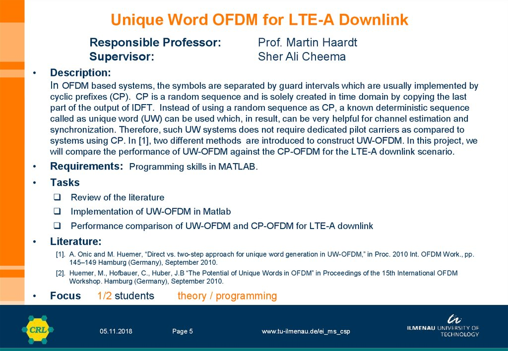 Unique Word OFDM for LTE-A Downlink