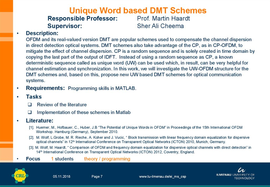 Unique Word based DMT Schemes