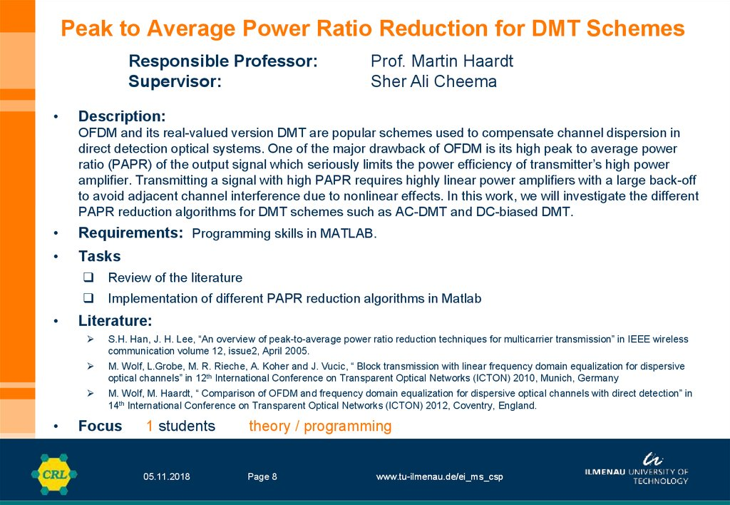 Peak to Average Power Ratio Reduction for DMT Schemes