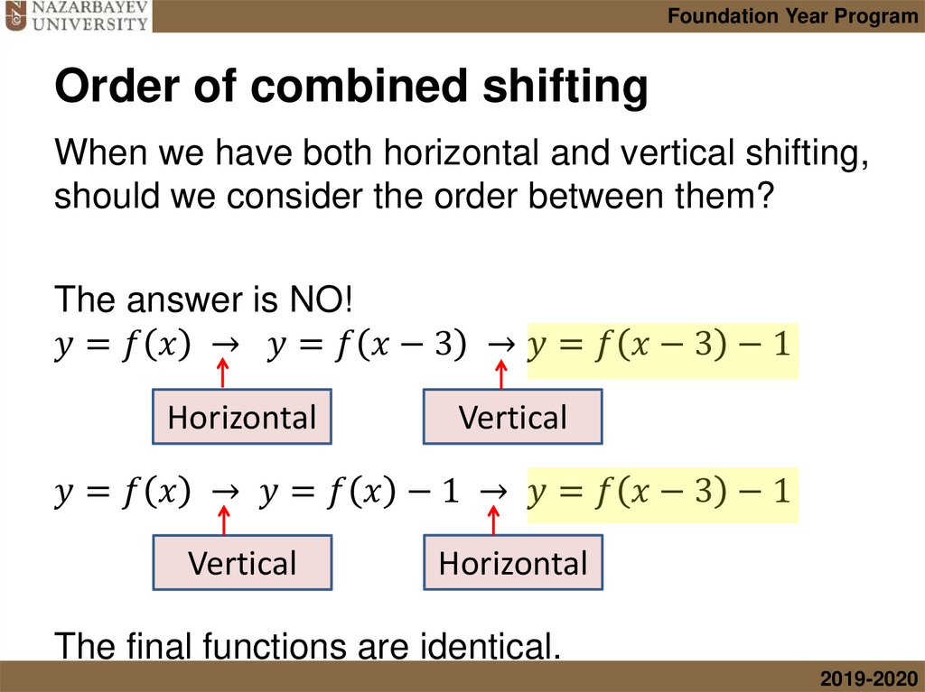 Order of combined shifting
