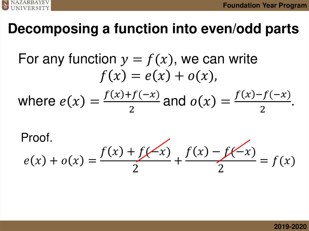 Decomposing a function into even/odd parts