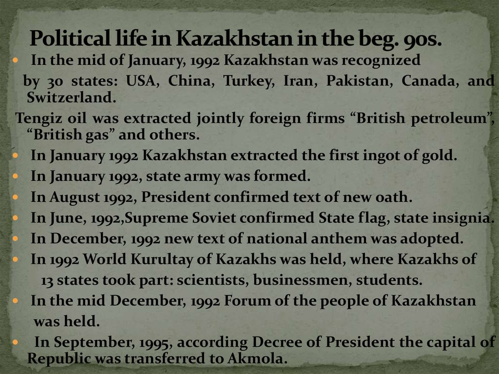 Political life in Kazakhstan in the beg. 90s.