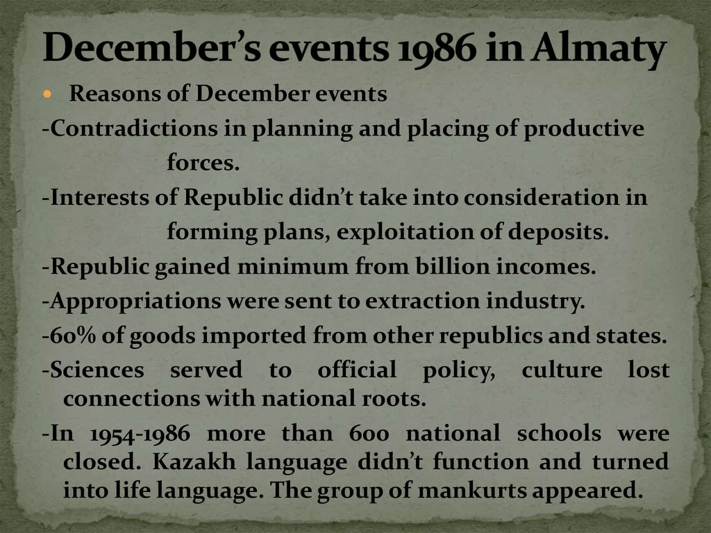 December's events 1986 in Almaty