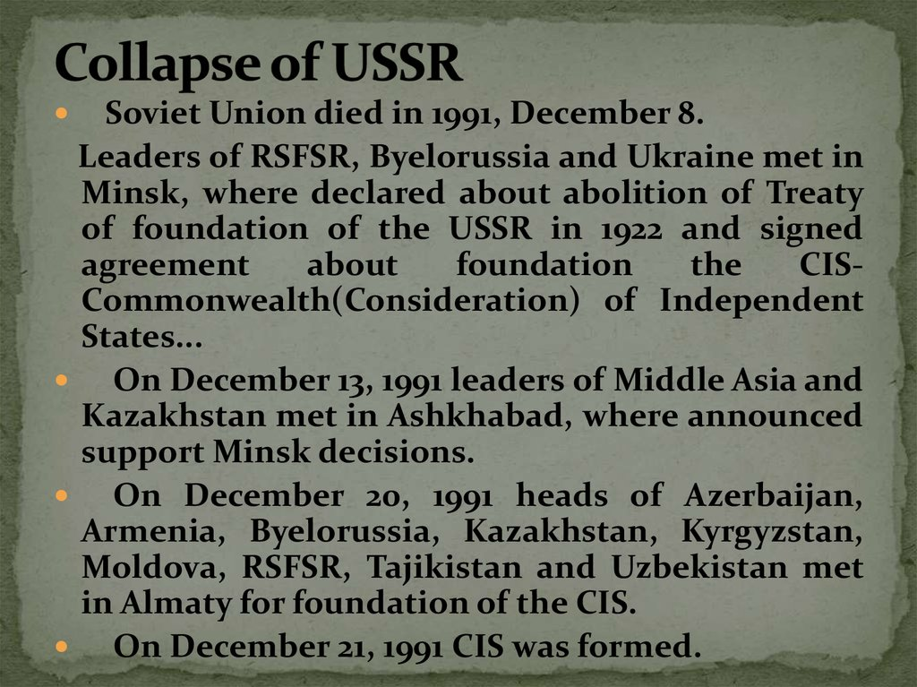Collapse of USSR