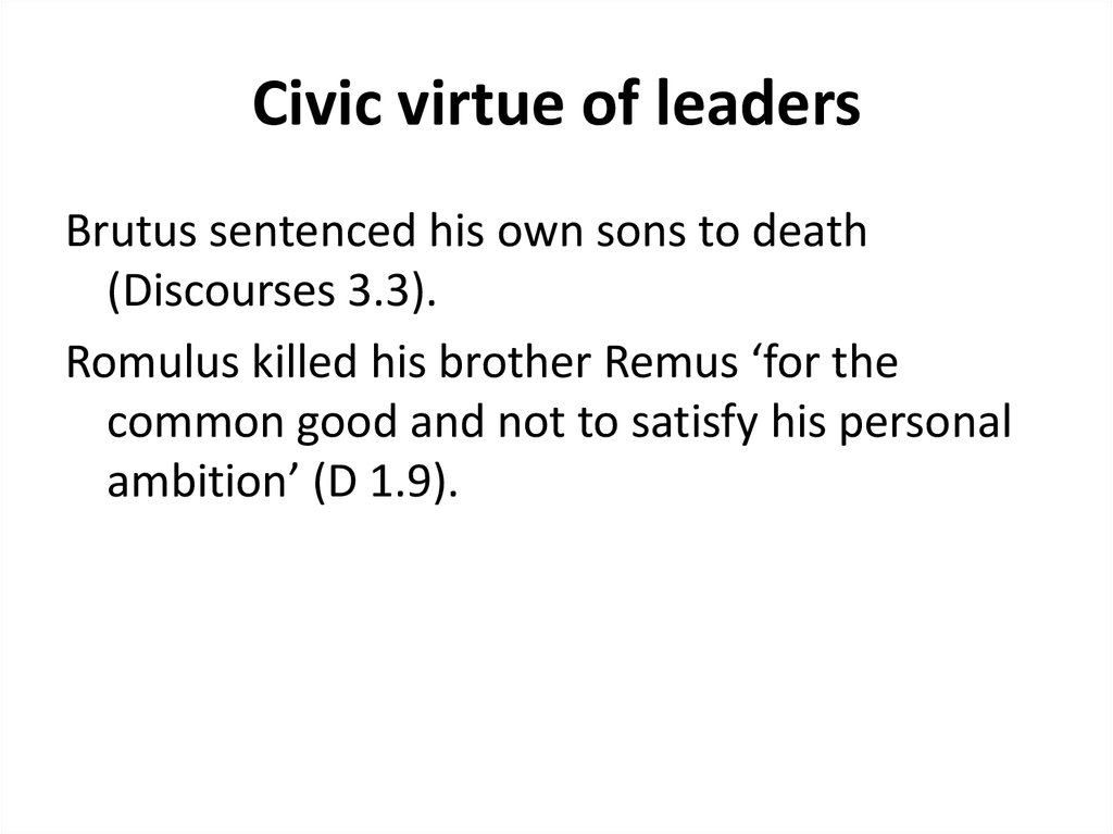 Civic virtue of leaders