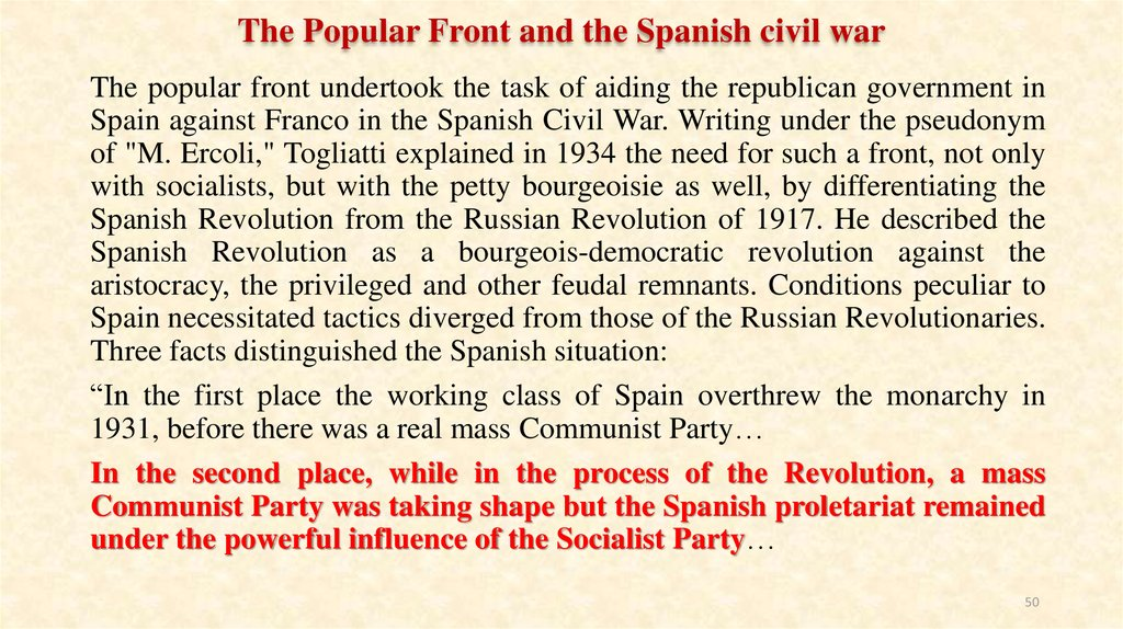 The Popular Front and the Spanish civil war