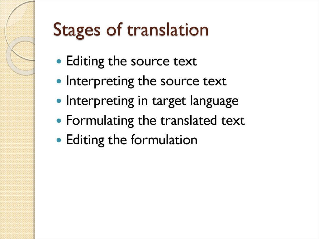 Stages of translation