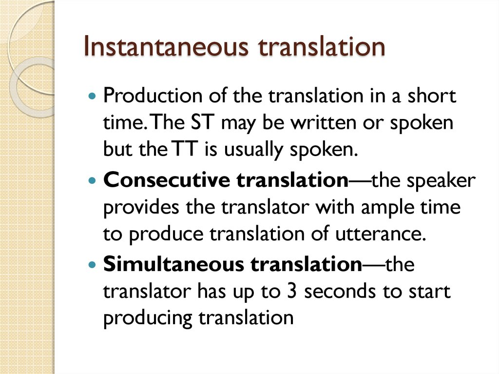 Instantaneous translation