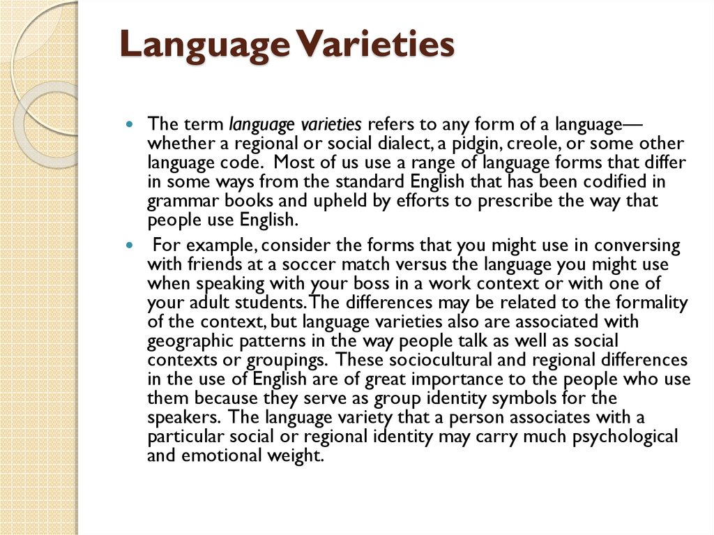 Language Varieties