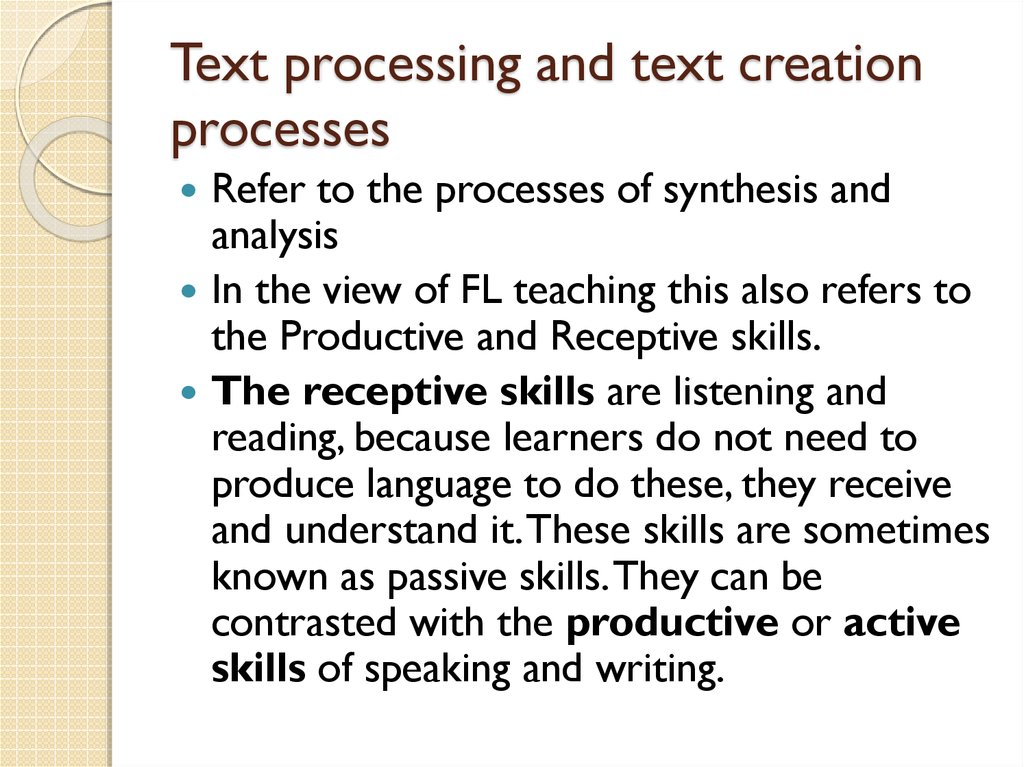 Text processing and text creation processes