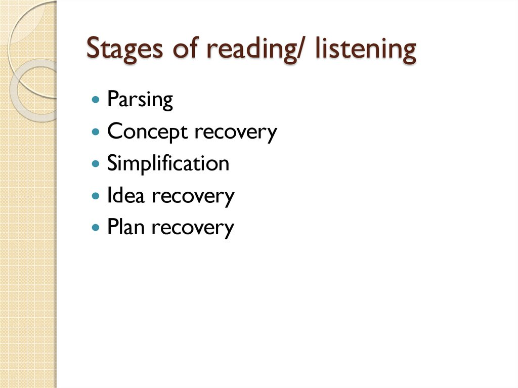 Stages of reading/ listening