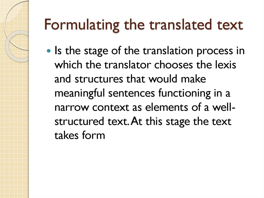 Formulating the translated text