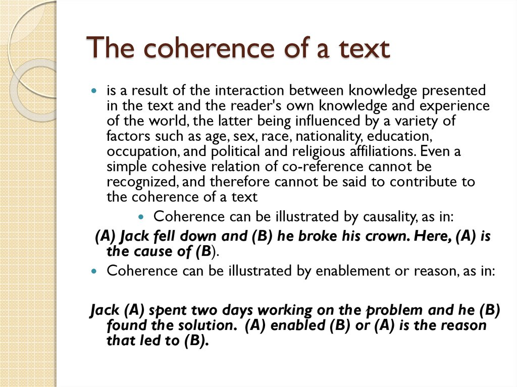 The coherence of a text