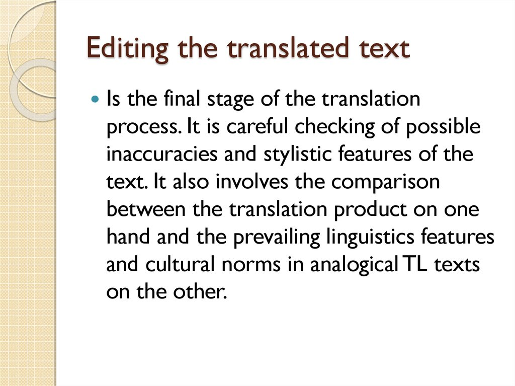 Editing the translated text