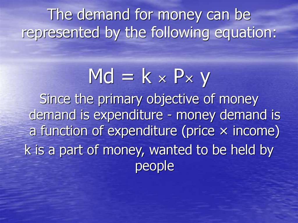 The demand for money can be represented by the following equation: