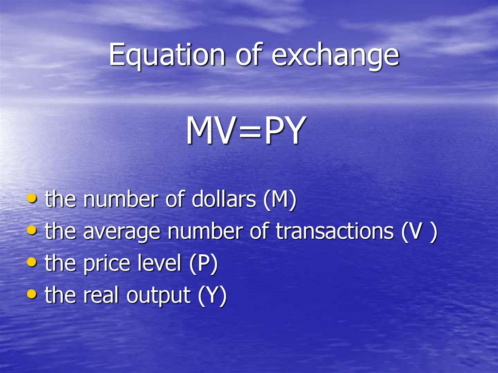 Equation of exchange