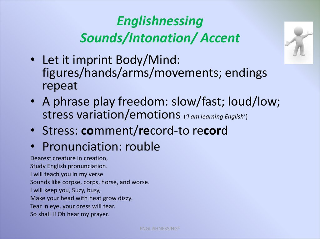 Englishnessing Sounds/Intonation/ Accent