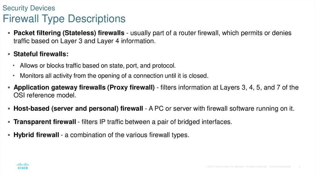 Security Devices Firewall Type Descriptions