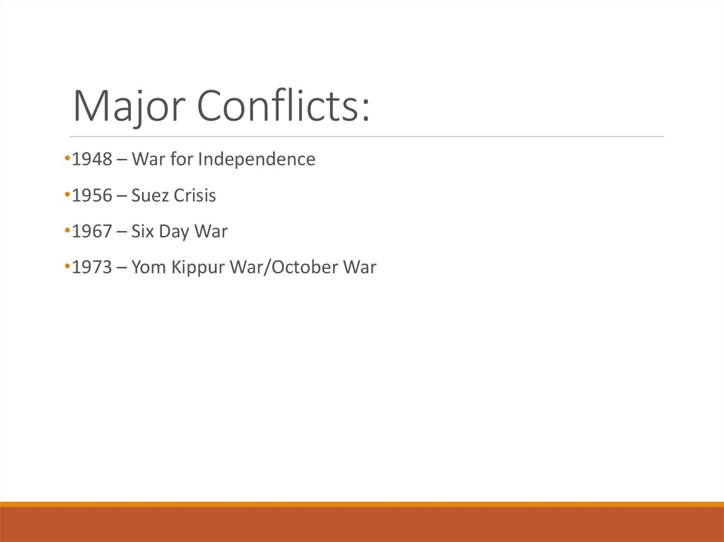 Major Conflicts: