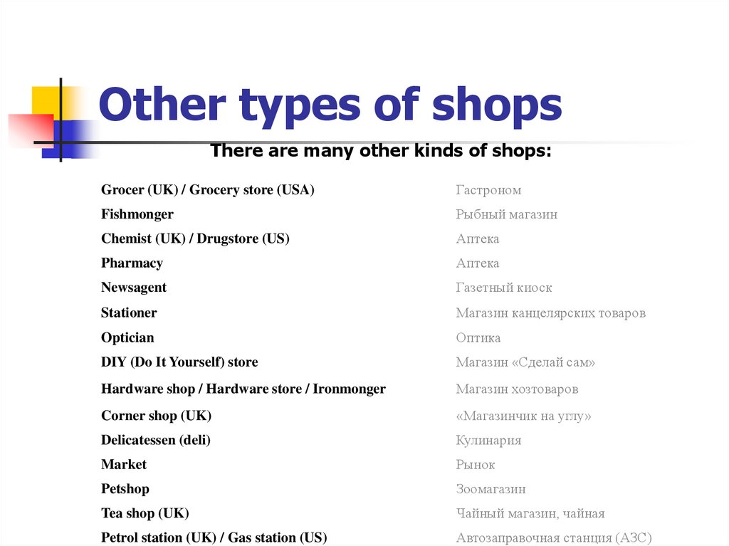 Other types of shops