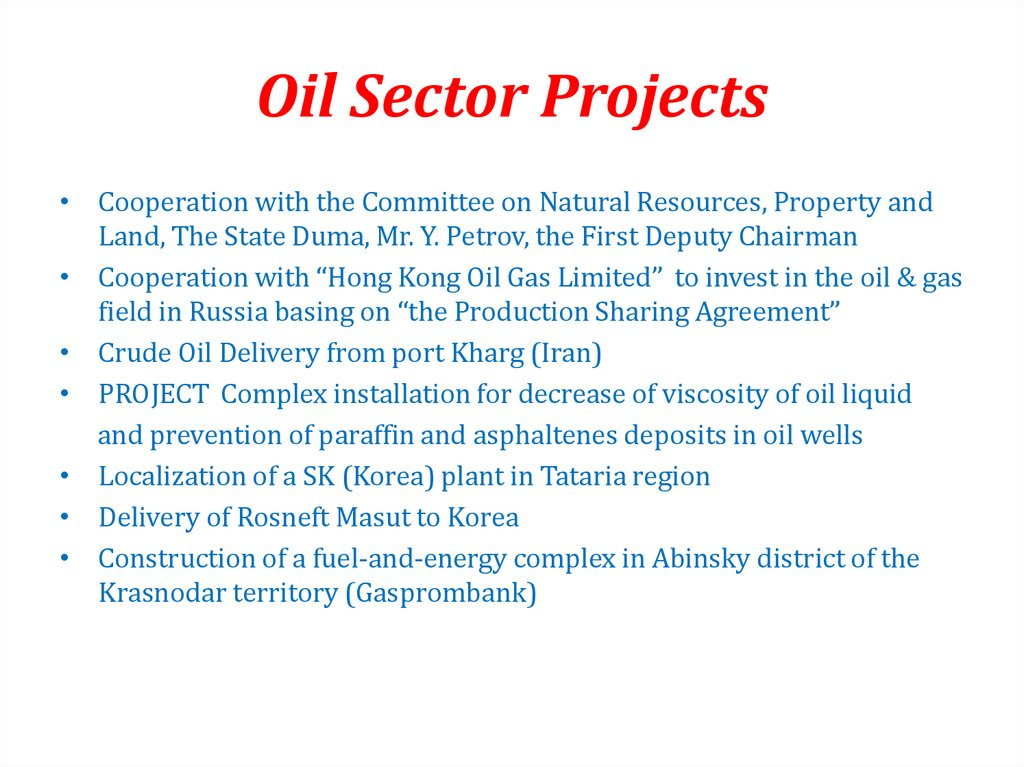 Oil Sector Projects