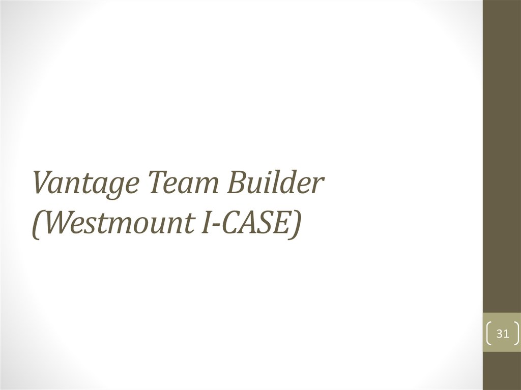 Vantage Team Builder (Westmount I-CASE)