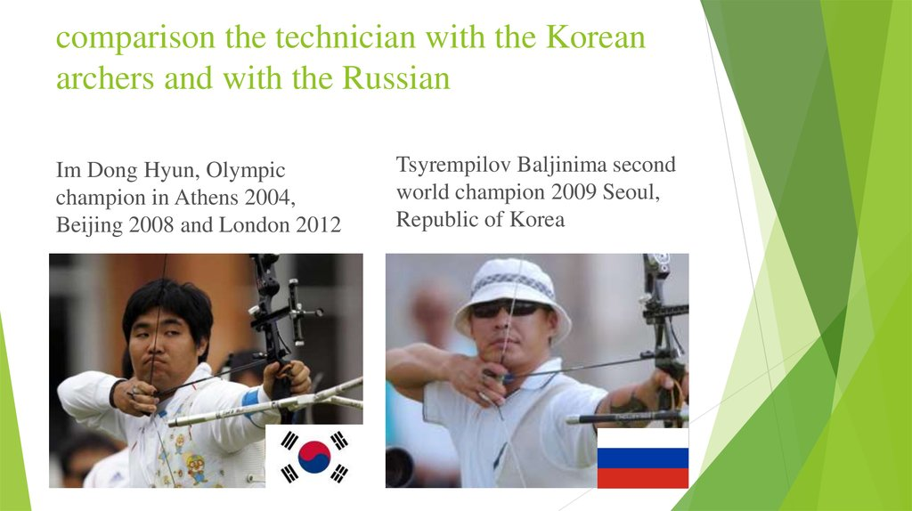 comparison the technician with the Korean archers and with the Russian