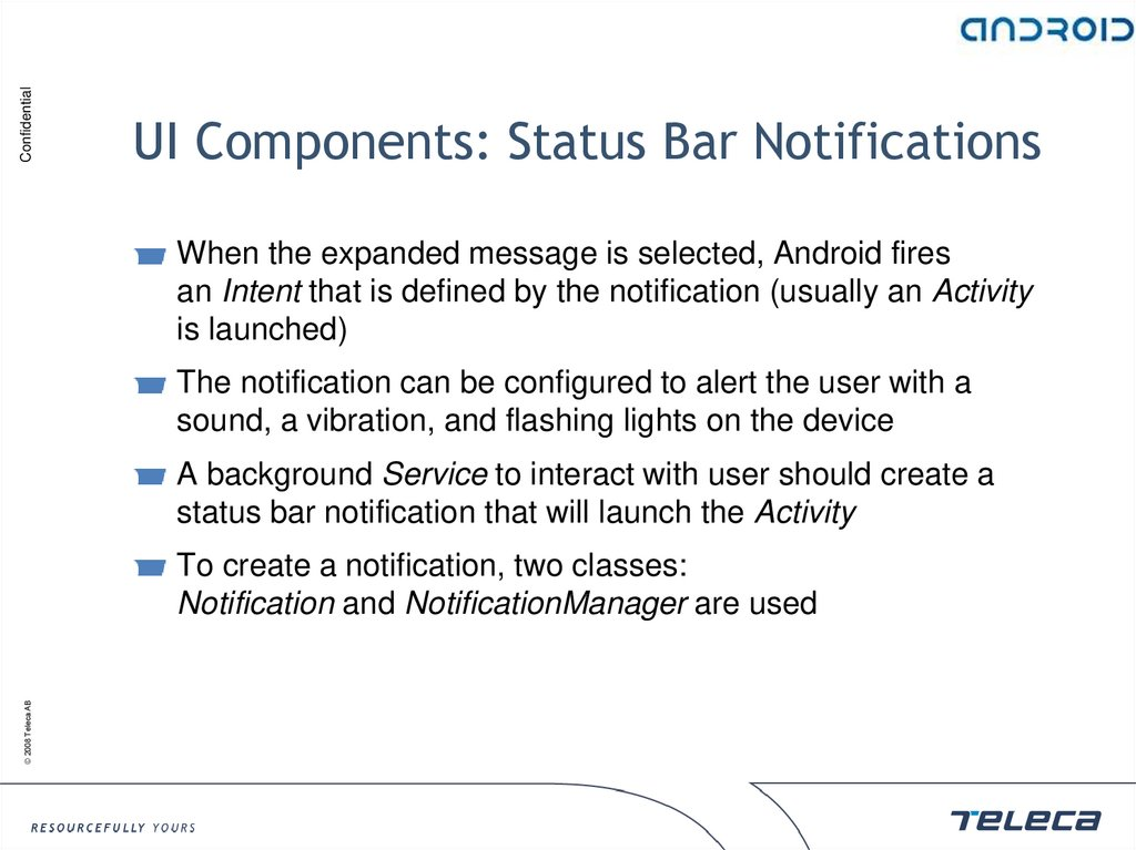 UI Components: Status Bar Notifications