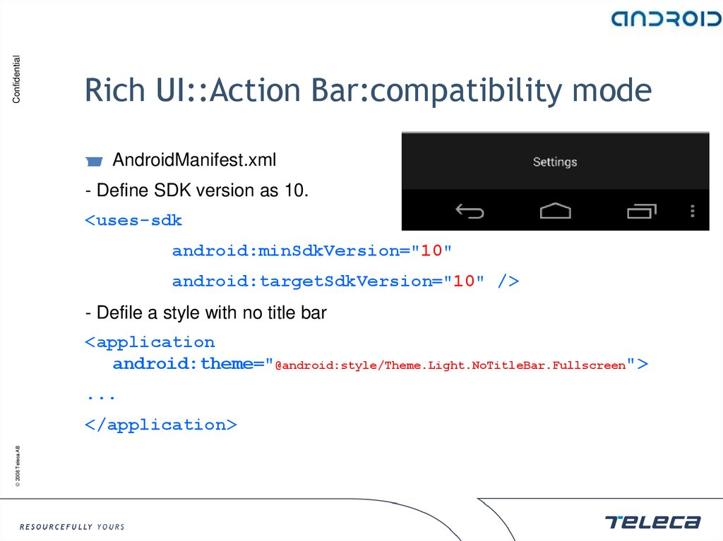 Rich UI::Action Bar:compatibility mode