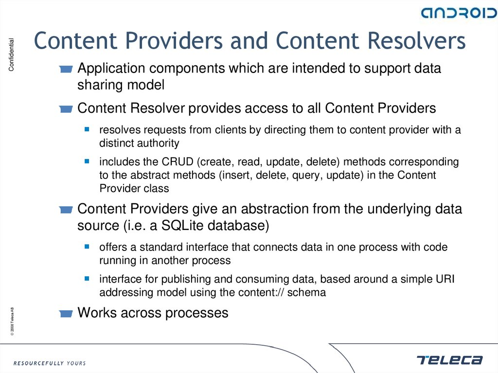 Content Providers and Content Resolvers