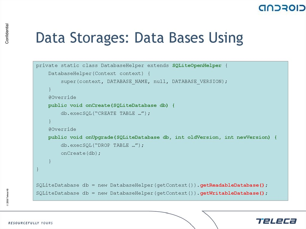 Data Storages: Data Bases Using