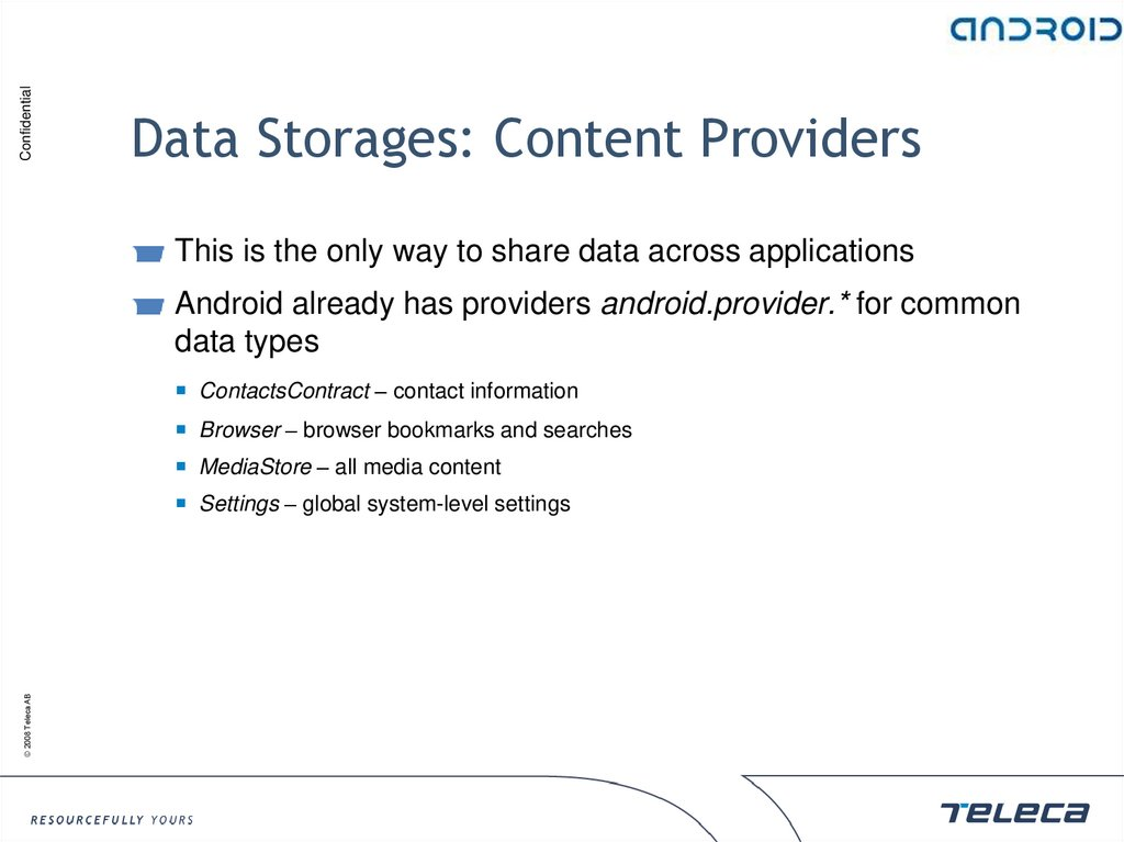 Data Storages: Content Providers