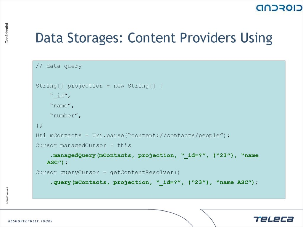 Data Storages: Content Providers Using