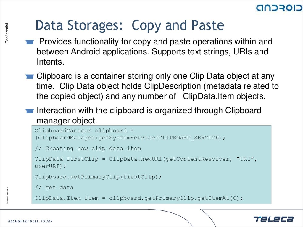 Data Storages: Copy and Paste