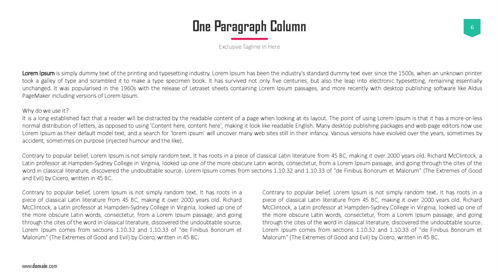One Paragraph Column